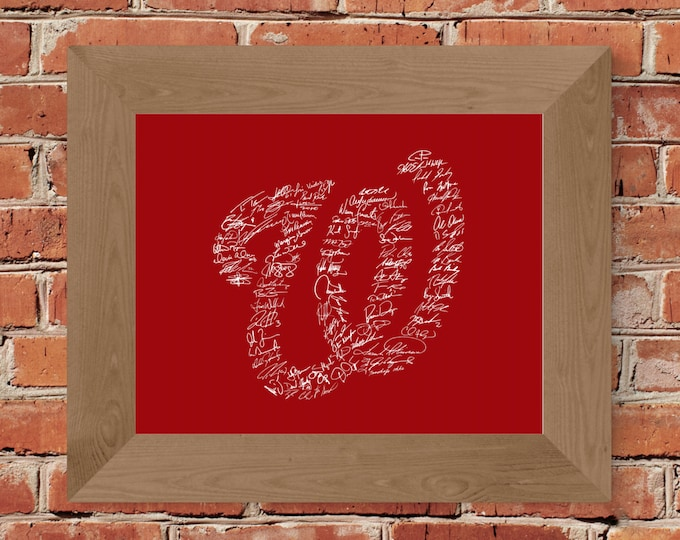 Signatures of Washington Nationals History Fine Art Print (Red) - Unframed (Multiple Sizes)