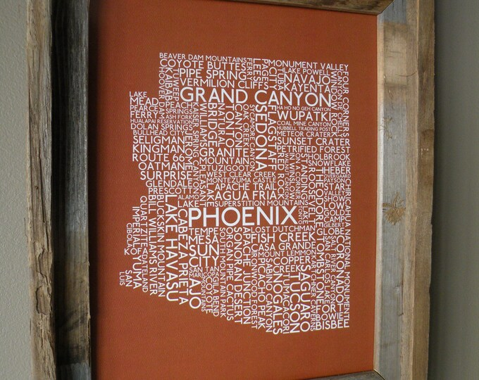 Arizona Word Map Print (Rust) - Unframed