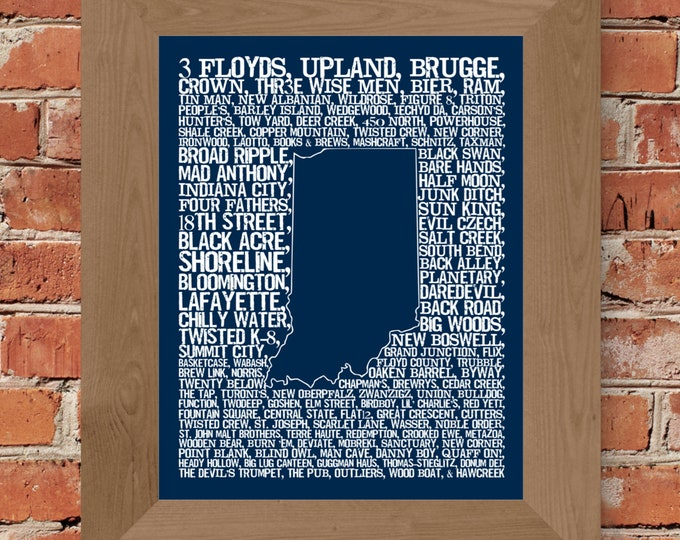 Beers of Indiana Word Map (Dark Blue) Fine Art Print - Unframed (11 x 14, 22 x 28)