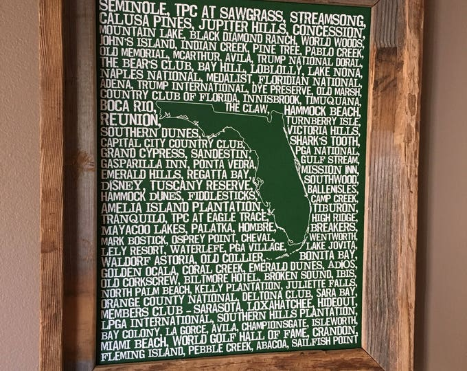 Florida Golf Word Map (Green) - Unframed