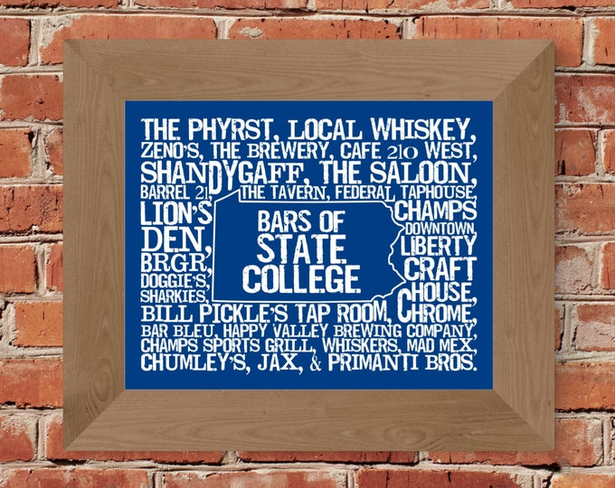 Bars of State College - Penn State University -  Word Map Fine Art Print (Blue & White) - Unframed