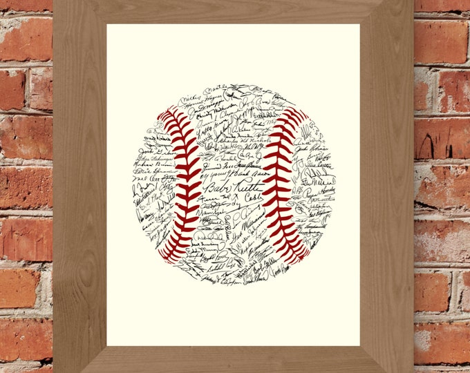 Signatures of Baseball History (Off-White/Black/Red) Fine Art Print - Unframed (8 x 10, 11 x 14, 16 x 20, 24 x 36, and more)