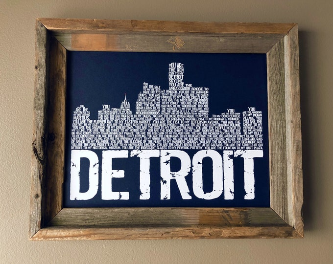 You are my Detroit Skyline Print - (Blue) Unframed