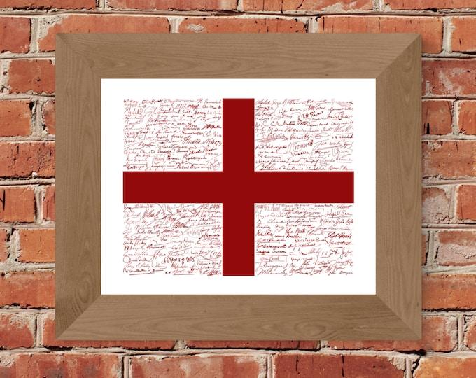 Signatures of English History St. George's Cross Flag Fine Art Print - Unframed (11x14, 22x28)