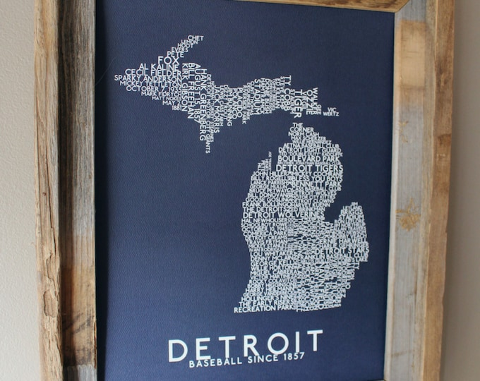 Detroit Baseball Word Map (Dark Blue) - Unframed