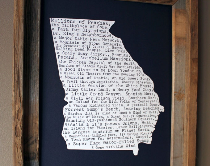 Georgia In A Nutshell Word Art Map Print (Dark Blue) - Unframed