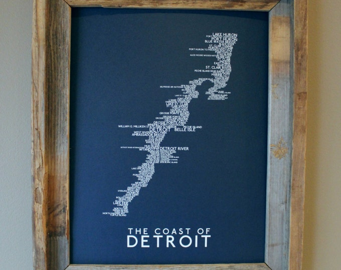 The Coast of Detroit Word Map (Dark Blue) - Unframed