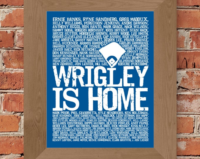 Wrigley is Home - Chicago Cubs Word Art Print (Blue & White) -Unframed