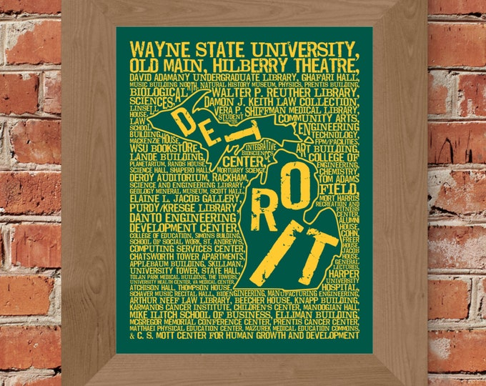Detroit Michigan - Wayne State University - Whimsical College Word Map (Green & Gold) - Unframed