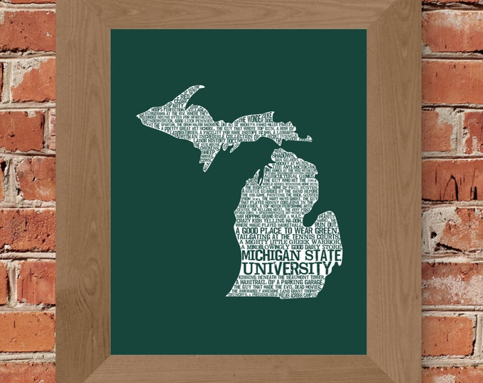 Michigan State University in a Nutshell (Green & White) Fine Art Print - Unframed  (5x7, 8x10, 11x14, 24x36, and more sizes available)