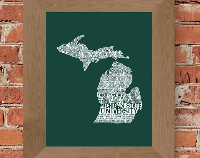Michigan State University in a Nutshell (Green & White) Fine Art Print - Unframed