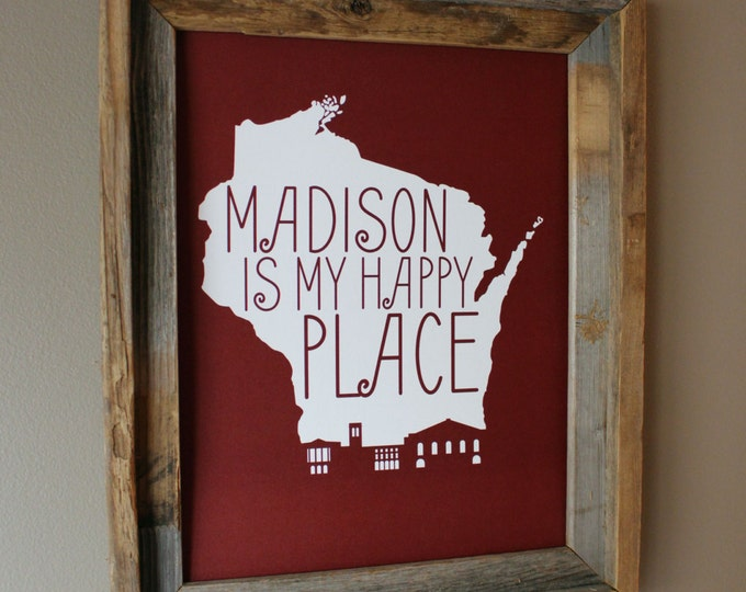 Madison is my Happy Place - University of Wisconsin - Map Print (Red) - Unframed