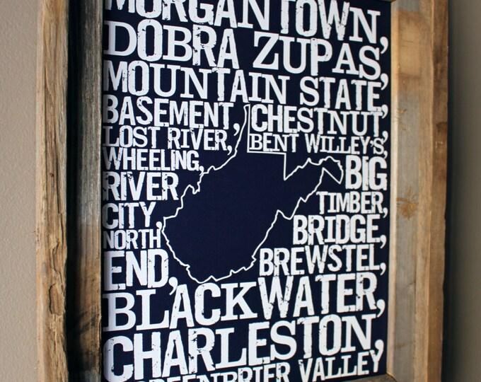 Beers of West Virginia Word Map (Dark Blue) - Unframed