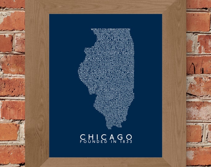 History of Chicago Word Map Fine Art Print (Dark Blue) - Unframed (8 x 10, 11 x 14, 16 x 20, 18 x 24, 24 x 36, and more)
