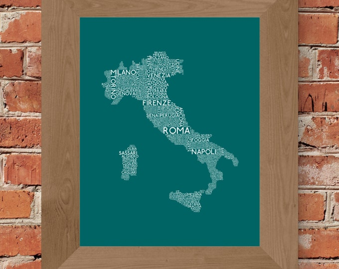 Cities of Italy Word Art Map (Teal) - Unframed