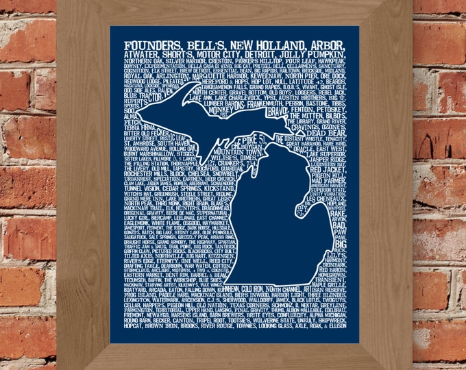 Beers of Michigan Word Map (Dark Blue) Fine Art Print - Unframed