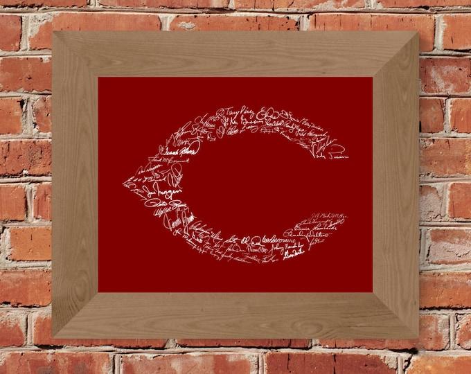 Signatures of Cincinnati Reds History (Reds) Fine Art Print - Unframed