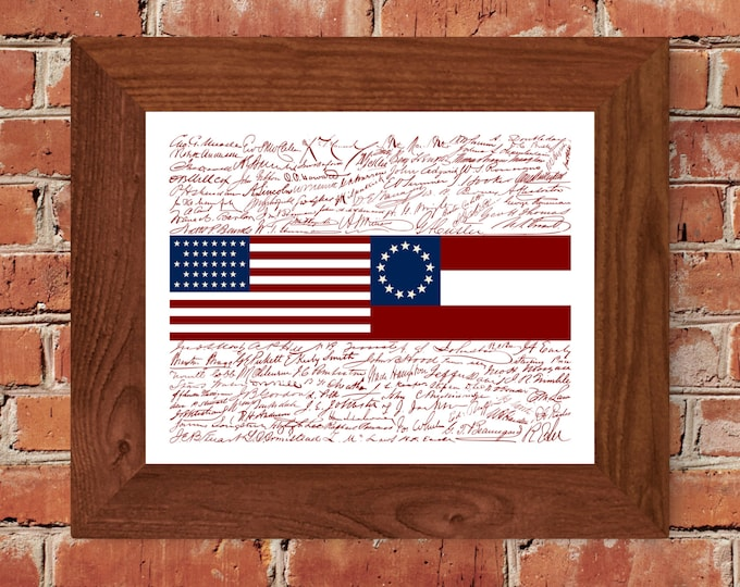 Signatures of the American Civil War Flag Fine Art Print - Unframed (8x10, 11x14, 16x 20, 24x36, and more)