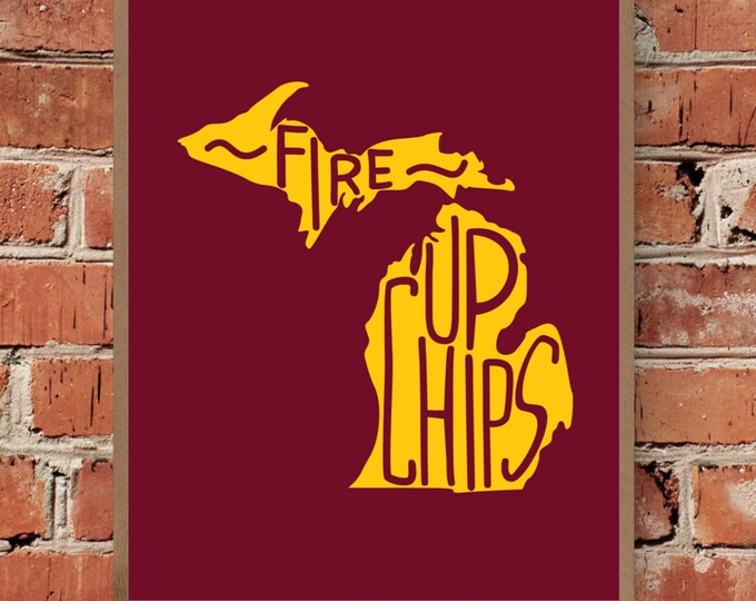 Fire Up Chips - Central Michigan - Fine Art Print - Unframed (Multiple Sizes)