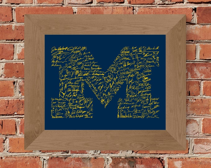 Signatures of Michigan Football History (Maize & Blue) Fine Art Print - Unframed (5x7, 8x10, 11x14, 24x36, and more sizes available)
