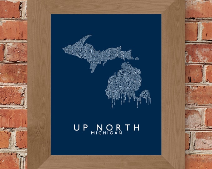 Up North (Michigan) Word Map Fine Art Print (Blue) - Unframed
