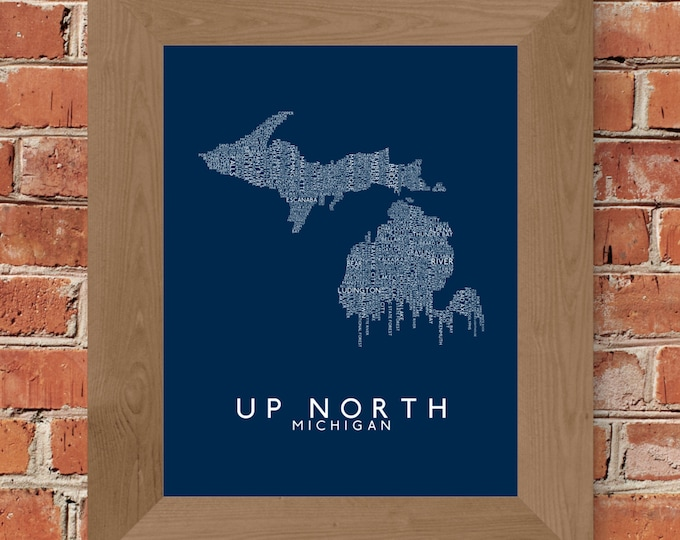Up North (Michigan) Word Map Fine Art Print (Blue) - Unframed (11x14, 16x20, 24x36, and more sizes available)