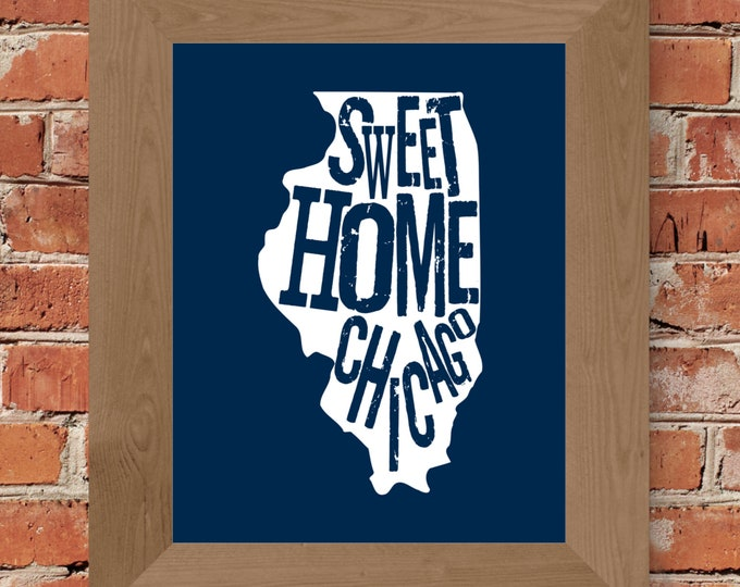 Sweet Home Chicago Map Fine Art Print (Blue) - Unframed