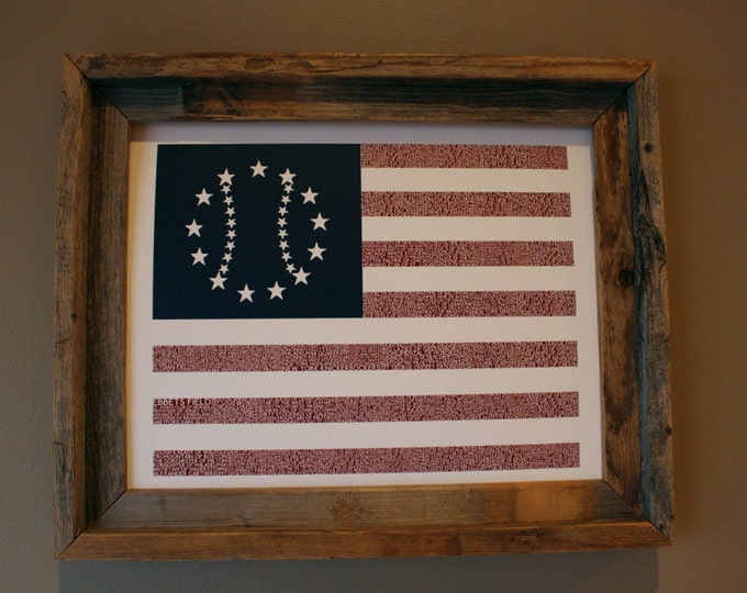 The Early Days of Baseball American Flag Word Art - Unframed