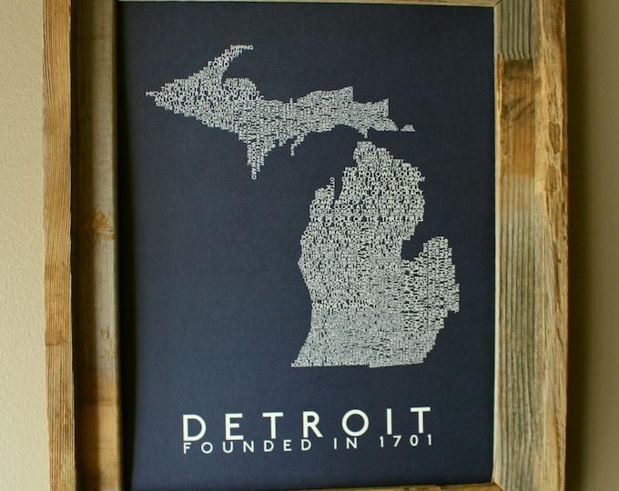 History of Detroit Word Map (Dark Blue) - Unframed
