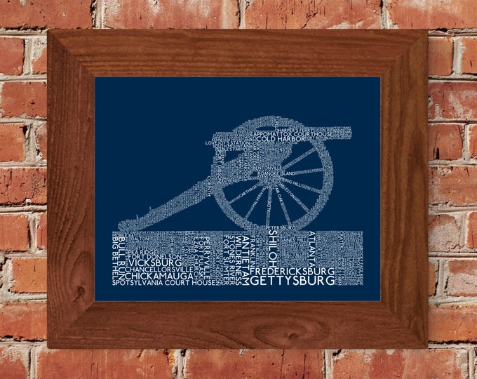 Civil War Battles Word Art Print (Dark Blue) - Unframed