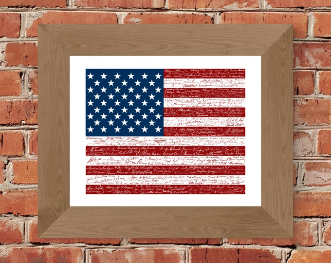 Signatures of American History USA Flag Print - Unframed (11x14, 22x28)