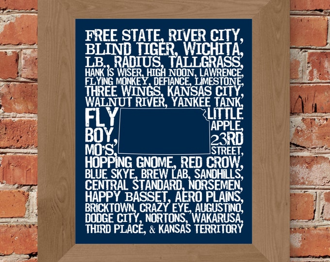 Beers of Kansas Word Map (Dark Blue) Fine Art Print - Unframed