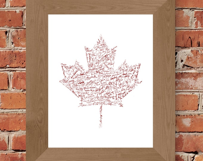 Signatures of Canada Hockey (White & Red) Fine Art Print - Unframed (11x14, 16x20, 24x36, and more sizes available)