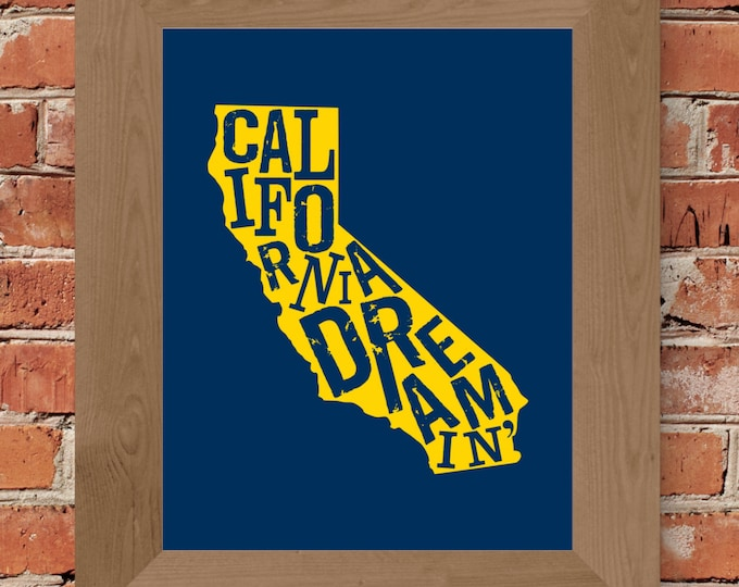 California Dreamin' Fine Art Print (Blue & Yellow) - Unframed