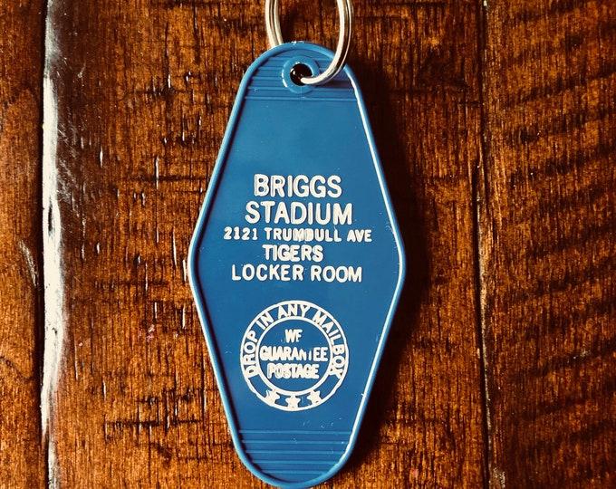 Briggs Stadium - Detroit Tigers Locker Room Vintage Style Keychain (Blue/White)