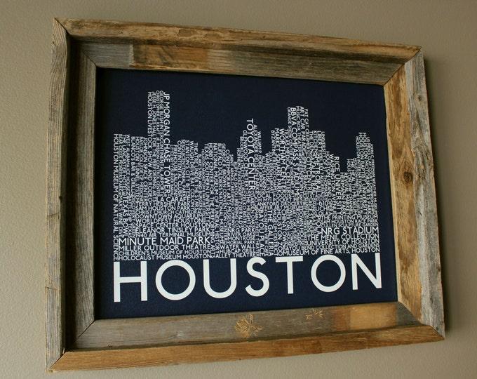 Houston Skyline Word Art Print (Dark Blue) - Unframed