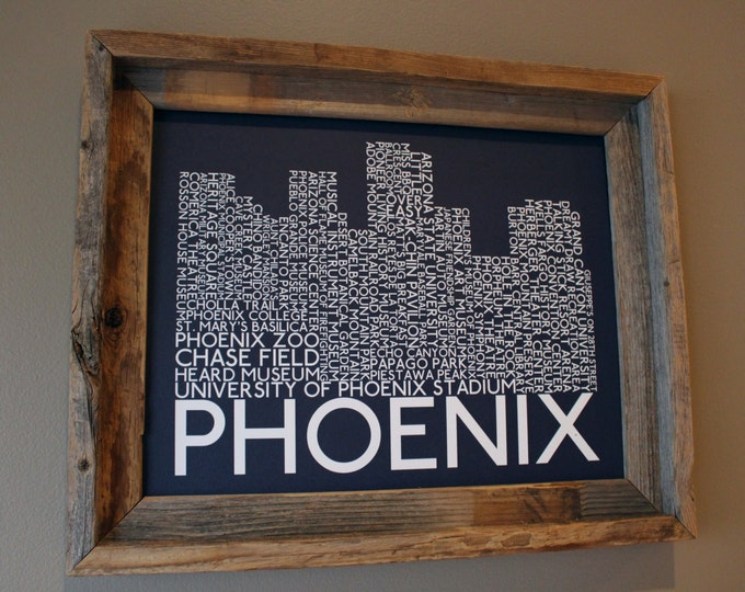 Phoenix Skyline Word Art Print (Dark Blue) - Unframed