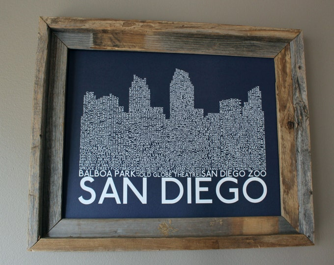 San Diego Skyline Word Art Print (Dark Blue) - Unframed