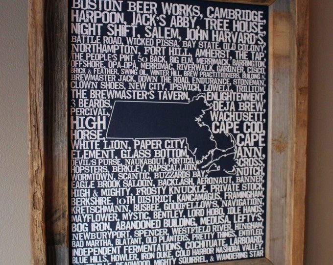 Beers of Massachusetts Word Map (Dark Blue) - Unframed