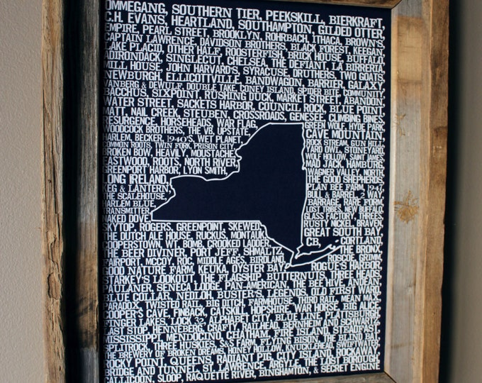 Beers of New York Word Map (Dark Blue) - Unframed
