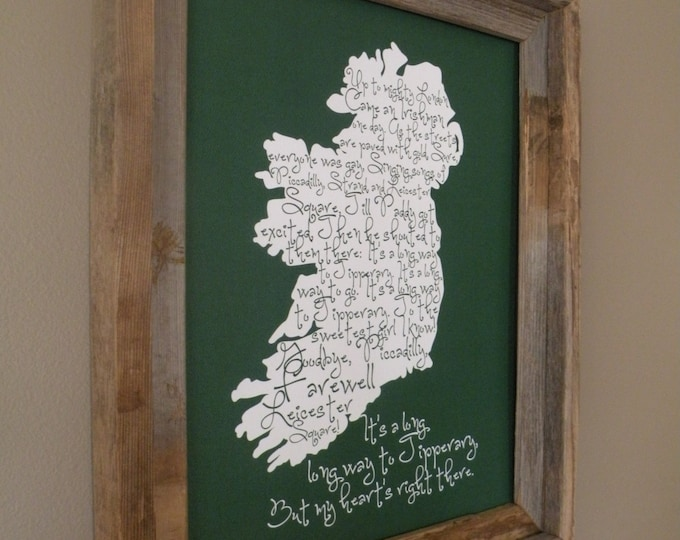 It's a Long Long Way to Tipperary Green Map Print - Unframed