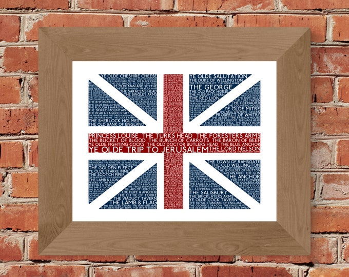 British Pubs Union Jack Flag Fine Art Print - Unframed