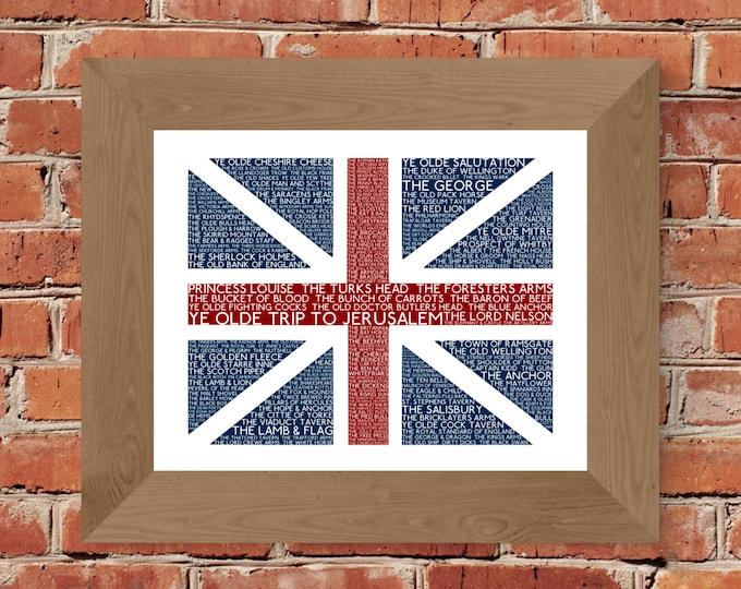 British Pubs Union Jack Flag Fine Art Print - Unframed
