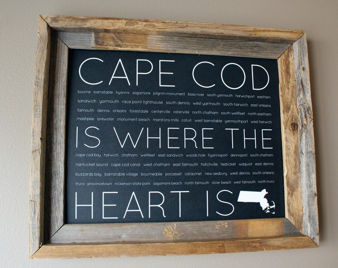 Cape Cod Is Where The Heart Is Word Art Print (Black with faint Teal Hints) - Unframed