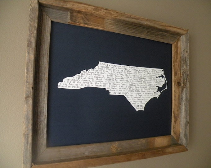 North Carolina In A Nutshell Word Art Map Print (Dark Blue) - Unframed