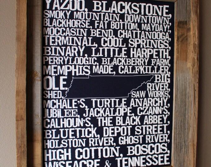 Beers of Tennessee Word Map (Dark Blue) - Unframed