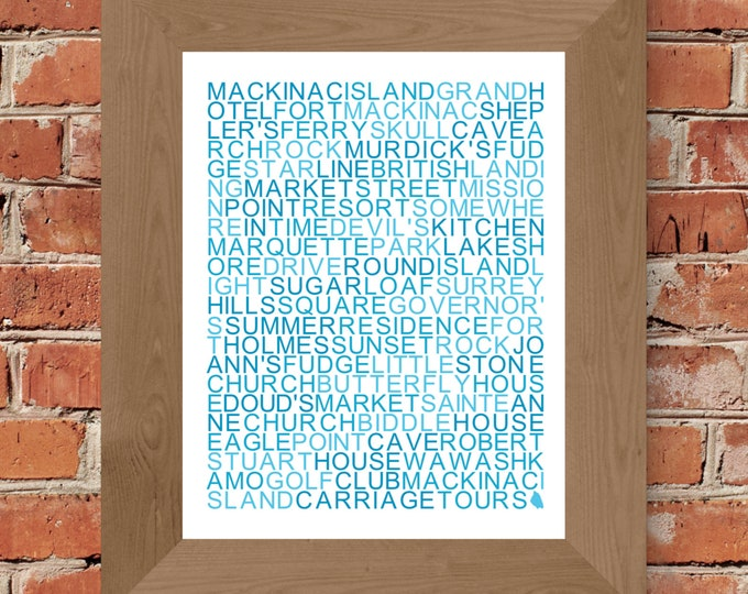 Mackinac Island Word Art Print (White & Blue) - Unframed
