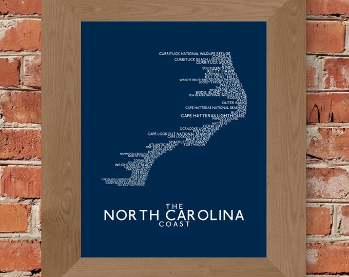 The North Carolina Coast Word Map (Dark Blue) Fine Art Print - Unframed (8 x 10, 11 x 14, 16 x 20, 18 x 24, 24 x 36 and more)