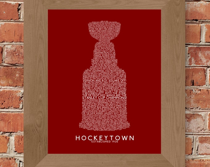 Great Calls of Hockeytown (Detroit Red Wings) Stanley Cup Word Art (Dark Red) - Unframed