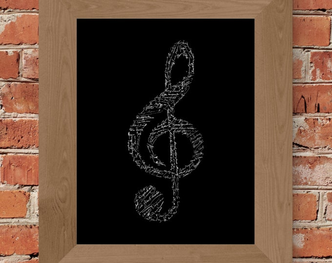 Signatures of Famous Composers (Black) Fine Art Print - Unframed